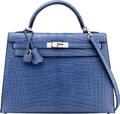 Luxury Accessories:Bags, Hermès 32cm Matte Blue Brighton Alligator Sellier Kelly Bag with Palladium Hardware. P Square, 2012. Condition: 1. ...