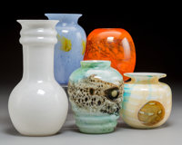 Four Durand Kimball Cluthra Glass Vases with a Joel Philip Myers Glass Vase Circa 1931 and later; Enameled K