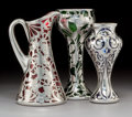 Art Glass:Other , Three American Colored Glass Vases and Ewer with Silver Overlay.Circa 1910. Various stamped marks to silver. Ht. 9-1/2 in. ...(Total: 3 Items)