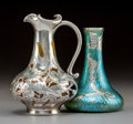 Art Glass:Other , Rookwood Pottery Ceramic Ewer with Silver Overlay and LoetzIridescent Glass Vase with Silver Overlay. Circa 1894. Ewer inci...(Total: 2 Items)