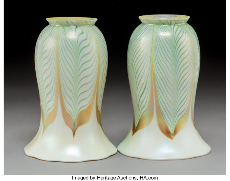 c6422f50847e Pair of Steuben Pulled Feather Iridescent Glass Shades. Circa ...