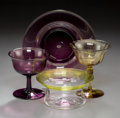 Art Glass:Steuben, Four Steuben Glass Tablewares. Circa 1920. Ht. 4-1/4 in. (tallest, amber glass footed sherbet). ... (Total: 4 Items)