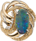 Estate Jewelry:Brooches - Pins, Diamond, Opal, Platinum, Gold Pendant-Brooch. ...