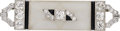 Estate Jewelry:Brooches - Pins, Diamond, Black Onyx, Frosted Rock Crystal Quartz, Platinum, White Gold Brooch. ...