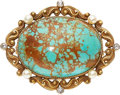 Estate Jewelry:Brooches - Pins, Turquoise, Diamond, Seed Pearl, Gold Brooch. ...