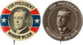 """Political:Pinback Buttons (1896-present), Woodrow Wilson: Pair of 1 ¼"""" Picture Pins. ... (Total: 2 Items)"""