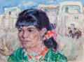 Paintings, Leon Gaspard (Russian/American, 1882-1964). Woman at Taos Pueblo. Oil on board. 15-1/4 x 20 inches (38.7 x 50.8 cm). Sig...