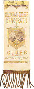 Political:Ribbons & Badges, Cleveland & Thurman: Jugate Baltimore Ribbon with Applied Albumen Portraits. ...