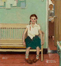 Norman Rockwell (American, 1894-1978) Girl with Black Eye (The Shiner), The Saturday Evening Post cover study</...