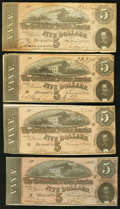 Confederate Notes:1864 Issues, T69 $5 (4) 1864 PF-8 Cr. 562; PF-9 Cr. 563; PF-10 Cr. 564; PF-11 Cr. 565.. ... (Total: 4 notes)