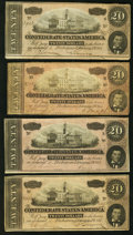 Confederate Notes:1864 Issues, T67 $20 (4) 1864 PF-14 Cr. 514; PF-16 Cr. 516; PF-18 Cr. 518; PF-19 Cr. 519.. ... (Total: 4 notes)