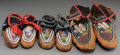 American Indian Art:Beadwork and Quillwork, Three Pairs of Iroquois Beaded Hide Moccasins... (Total: 6 Items)