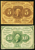 Fractional Currency:First Issue, First Issue Fractionals Two Examples.. ... (Total: 2 notes)