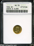Commemorative Gold: , 1904 G$1 Lewis and Clark AU55 ANACS. A bright and boldly struckpiece that retains most of its original luster, however, wi...