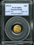 Commemorative Gold: , 1915-S G$1 Panama-Pacific Gold Dollar MS64 PCGS. Typically wellstruck on the design features, and just a couple of unobtru...