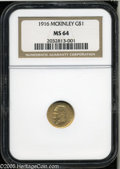 Commemorative Gold: , 1916 G$1 McKinley MS64 NGC. Lustrous surfaces display apricot-goldpatina with light green undertones. The design elements ...