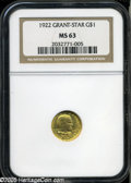 Commemorative Gold: , 1922 G$1 Grant with Star MS63 NGC. Rich coloration and bright satinluster produce significant eye appeal. A short pinscrat...