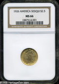Commemorative Gold: , 1926 $2 1/2 Sesquicentennial MS66 NGC. An elusive issue to locatein MS66, the Sesquicentennial Quarter Eagle is a legitima...