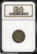 Patterns: , 1866 5C Five Cents, Judd-461, Pollock-535, R.5, PR64 NGC. A bust ofGeorge Washington faces right on the obverse, the legen...