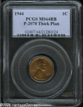1944 Cent, Pollock-2078, R.7?, MS 64 Red and Brown PCGS. Struck from the regular dies of 1944, but on thicker planchet s...