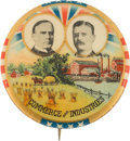 """Political:Pinback Buttons (1896-present), McKinley & Roosevelt: Colorful """"Commerce and Industries"""" Jugate. ..."""
