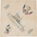 """Political:Textile Display (1896-present), Theodore Roosevelt: Colorful and Rare """"Great White Fleet"""" SouvenirHandkerchief...."""