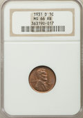 1931-D 1C MS66 Red and Brown NGC. NGC Census: (8/0). PCGS Population: (9/0). Mintage 4,480,000. ...(PCGS# 2616)