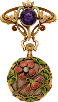Timepieces:Pendant , Swiss Exceptionally Fine Art Nouveau Enamel & Gold Pendant Watch. ...