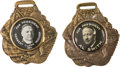 Political:Pinback Buttons (1896-present), Herbert Hoover and Al Smith: Pair of Capitol Dome Portrait Fobs. ... (Total: 2 Items)