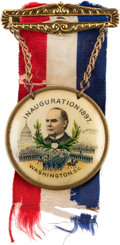 Political:Inaugural (1789-present), William McKinley: Colorful Inauguration Ribbon Badge. ...