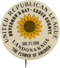Political:Pinback Buttons (1896-present), Alf Landon: Very Rare New Jersey One-Day Event Slogan Button. ...