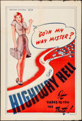 """Movie Posters:Exploitation, Hitchhike to Hell (Preview Pictures, R-1940s). One Sheet (28"""" X42""""). Alternate Title: Highway Hell. Exploitation.. ..."""