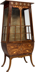 Furniture , English Art Nouveau Inlaid Trapezoidal Vitrine. Circa 1910. Ht. 63-3/4 x 31 x 16-1/2 in. . ...