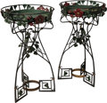 Decorative Arts, French:Other , Pair of French Art Nouveau Painted Wrought Iron PomegranateJardinière Stands. Circa 1910. Ht. 44-1/2 x Wd. 24-3... (Total: 2Items)