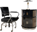 Furniture , Art Deco Lacquered Revolving Bar, Chair, and Lamp. 20th century. Ht. 34 x 23 x 21 in. (chair). ... (Total: 3 Items)