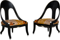 Pair of French Art Deco-Style Ebonized and Upholstered Chairs 20th century Ht. 35-1/2 x 22 x 24 in