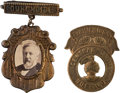 Political:Ferrotypes / Photo Badges (pre-1896), James G. Blaine: Cardboard Photo and Brass Badges.... (Total: 2 Items)