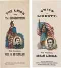 Political:Ribbons & Badges, Abraham Lincoln and George B. McClellan: Terrific Matched Pair of Colorful Large Ribbon-like Paper Badges.... (Total: 2 Items)