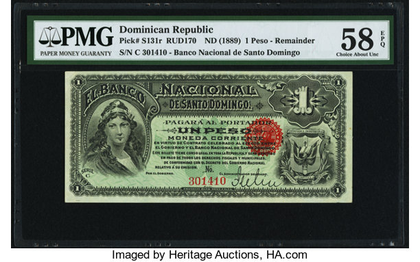 World Currency Dominican Republic Banco Nacional De Santo Domingo 1 Peso Nd 1889
