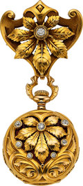 "Timepieces:Pendant , Agassiz 18k Gold & Enamel ""Heart & Diamond"" Pendant Watch. ..."