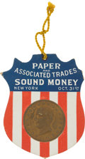 Political:Ribbons & Badges, William McKinley: Most Unusual 1896 Cardboard Campaign Badge....
