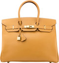 """Luxury Accessories:Bags, Hermès 35cm Gold Ardennes Leather Birkin Bag with Gold Hardware.E Square, 2001. Condition: 2. 14"""" Width x 10""""Hei..."""