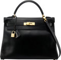 """Luxury Accessories:Bags, Hermès 32cm Black Calf Box Leather Retourne Kelly Bag with Gold Hardware. C Square, 1999. Condition: 3. 12.5"""" Widt..."""