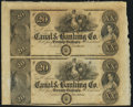 Obsoletes By State:Louisiana, New Orleans, LA- Canal & Banking Co. $20-$20 186__ Uncut Pair. ...