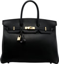 """Luxury Accessories:Bags, Hermès 35cm Black Gulliver Leather Birkin Bag with Gold Hardware. C Square, 1999. Condition: 3. 14"""" Width x 10"""" He..."""