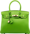 Luxury Accessories:Bags, Hermès Limited Edition 30cm Vert Cru Swift Leather Birkin Bag with Gold Hardware. A Square, 1997. Condition: 2 . 1...