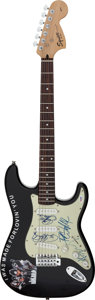 Musical Instruments:Electric Guitars, KISS Signed Fender Affinity Series Squire Strat Electric Guitar with Letter of Authenticity....
