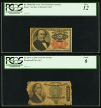 Fr. 1308 25¢ Fifth Issue PCGS Fine 12; Fr. 1379 50¢ Fifth Issue PCGS Good 6
