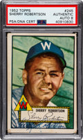Autographs:Sports Cards, Signed 1952 Topps Sherry Robertson #245 PSA/DNA NM-MT 8. ...