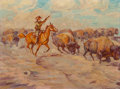Fine Art - Painting, American, Harold Dow Bugbee (American, 1900-1963). When Buffalo was Breadand Meat, 1942. Oil on canvasboard. 9 x 12 inches (22.9 ...